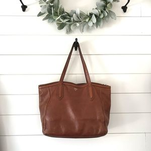 Leather fossil bag tote